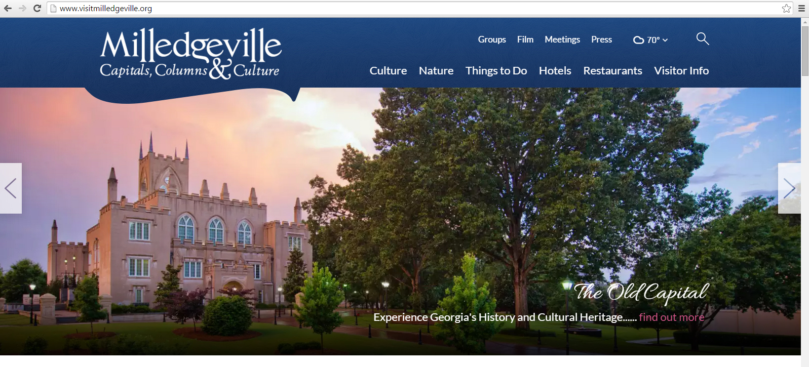 homepage of newly redesigned visitmilledgeville.com